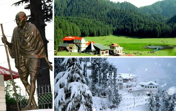 A collage of the scenes at Gandhi Chowk, Khajjiar pastures, and the snow-clad Dalhousie
