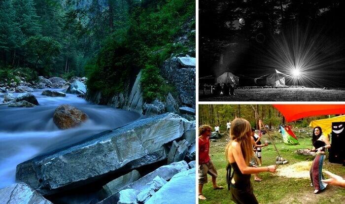 Views of the beautiful river and camping at Kasol