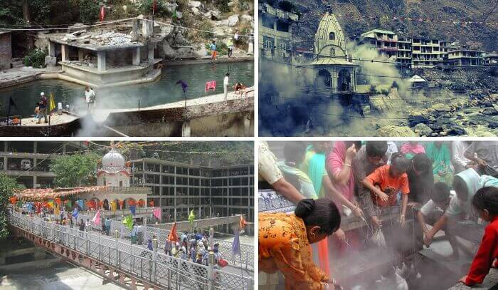 A collage of people bathing and cooking rice at Manikaran hot springs