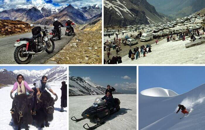 Images of the winter sports at Rohtang and the bike ride to the pass