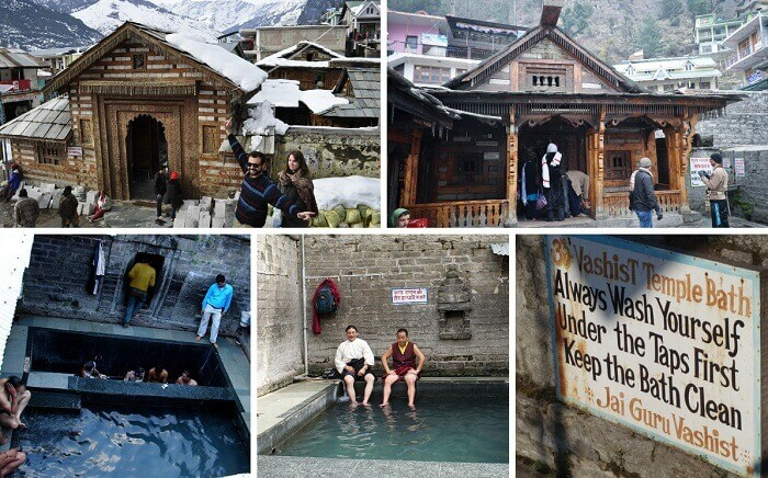 Scenes from the inside and outside of the temple at the Vashisht hot water springs