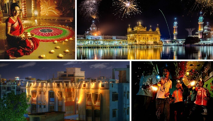 A collage of the festivities of Diwali