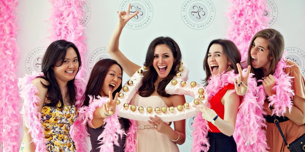 A woman celebrating her bachelorette with her friends