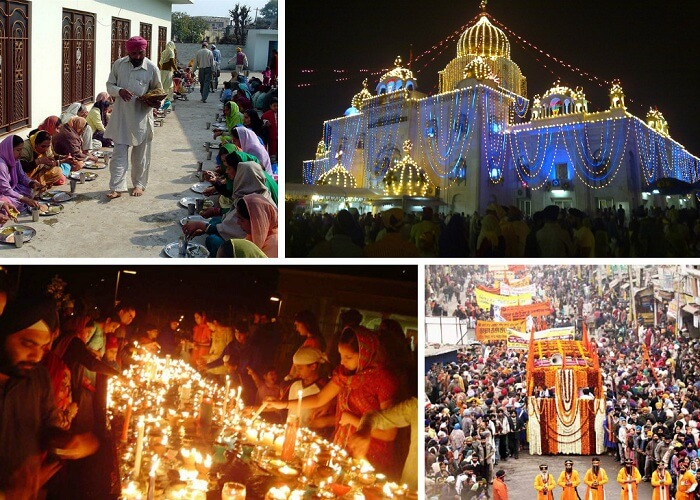 A collage of the festivities of Gurupurab