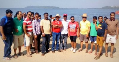 Mahesh Kumar and his friends pose for a photo on a group trip to Goa