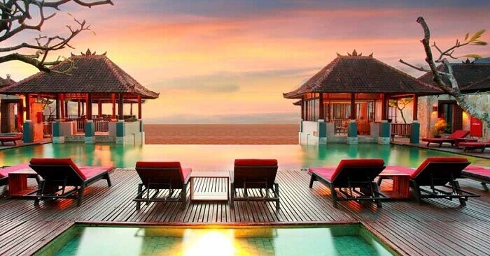 A view of the sunset at the relaxing pools of Mercure beach resort in Bali