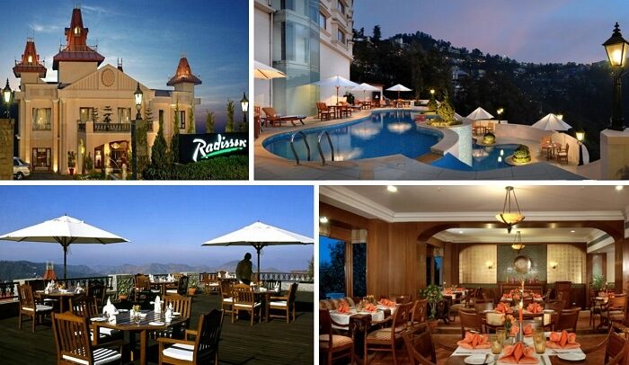 A collage of many views of Radisson hotel in Shimla near Mall Road