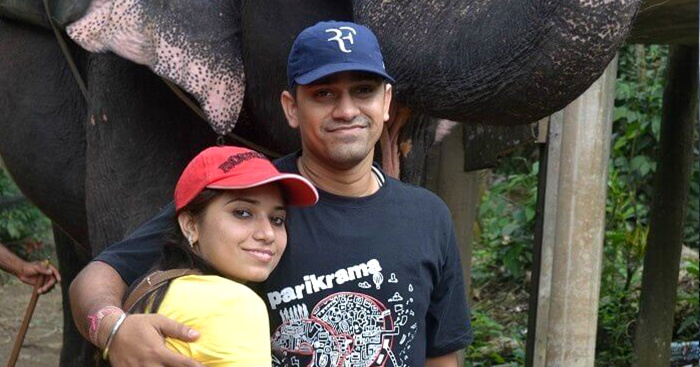 Rajeev Singh and his wife on a trip to Kerala