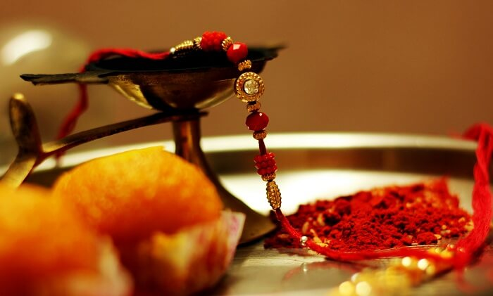 The thali of rakhi on Raksha Bandhan