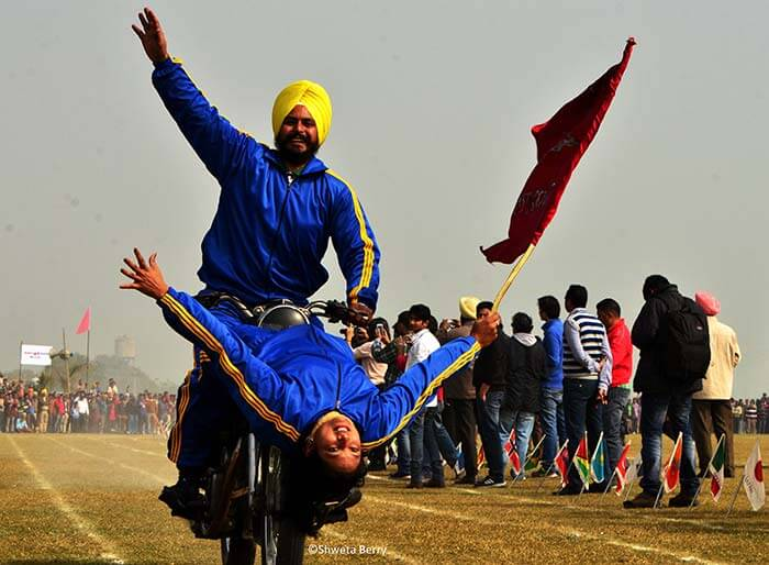 Bike stunts in rural olympic in Punjab