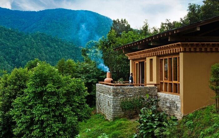 The view of the balcony and the hills in backdrop at Uma by COMO at Punakha