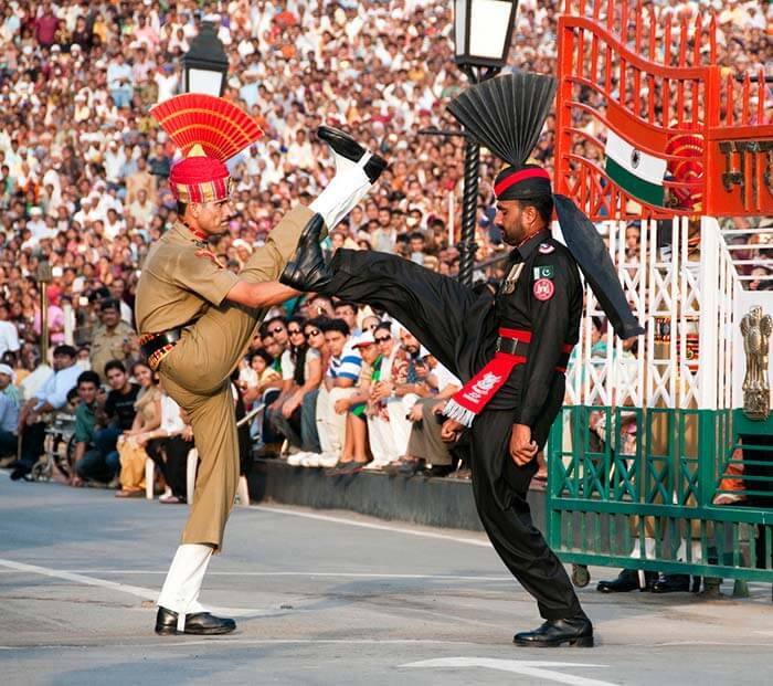 Flag ceremony at Wagah border