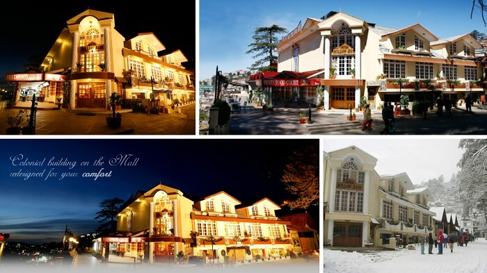A collage of many views of Willowbanks hotel in Shimla near Mall Road