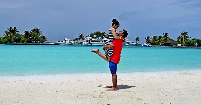 Yatin enjoying with his wife on a honeymoon trip to Maldives