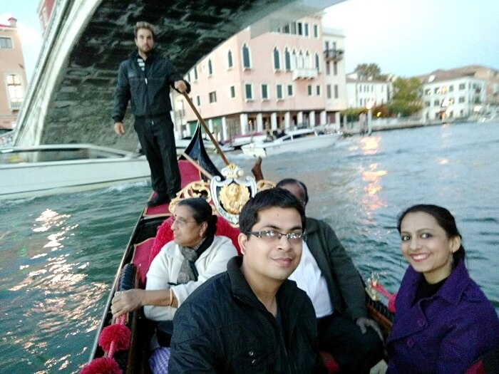 While on the Gondola Ride in Venice