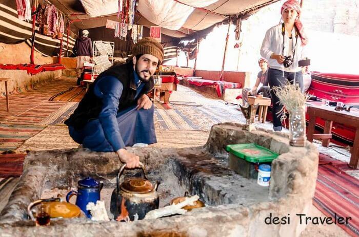 An authentic way of making tea in Jordan