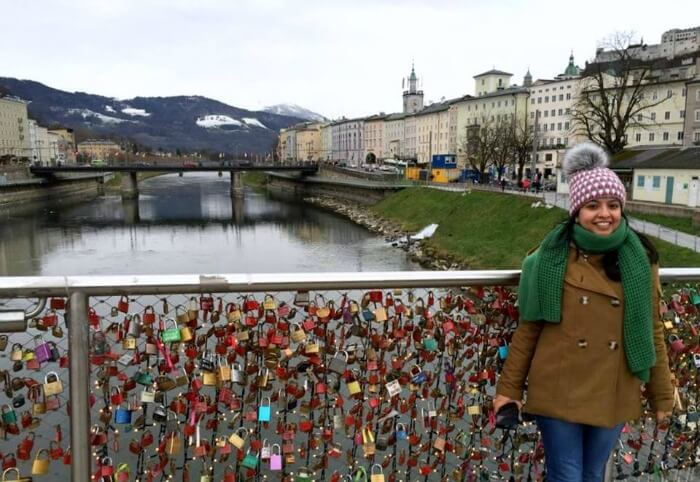 Love Locksbridge in the beautiful city of Salzburg