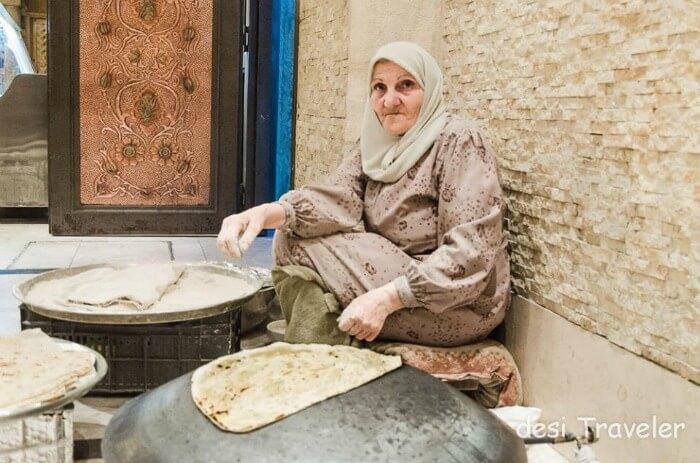 A lady making chapatis in Jordan