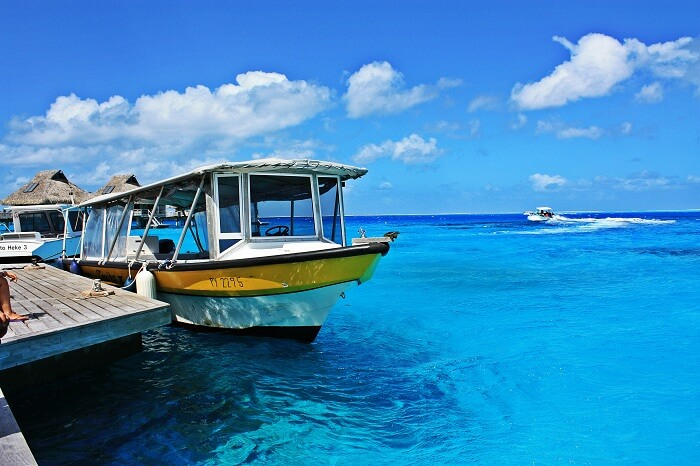 Water taxis standing at the port of a Bora Bora resort