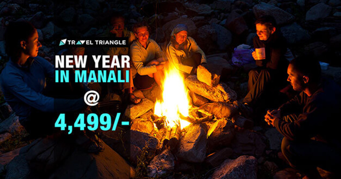 A promotional poster of a New Year trip to Manali
