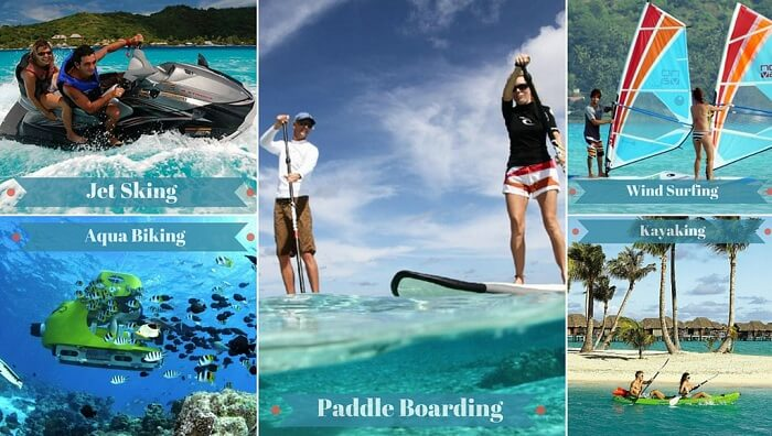 A collage of some of the best adventure activities in Bora Bora