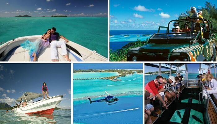 A collage of some of the best tourist tours in Bora Bora