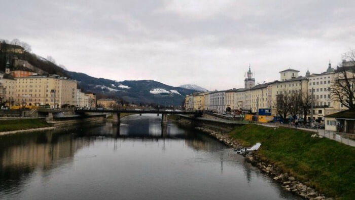 The scenic beauty of Salzburg on a cloudy day beside the river
