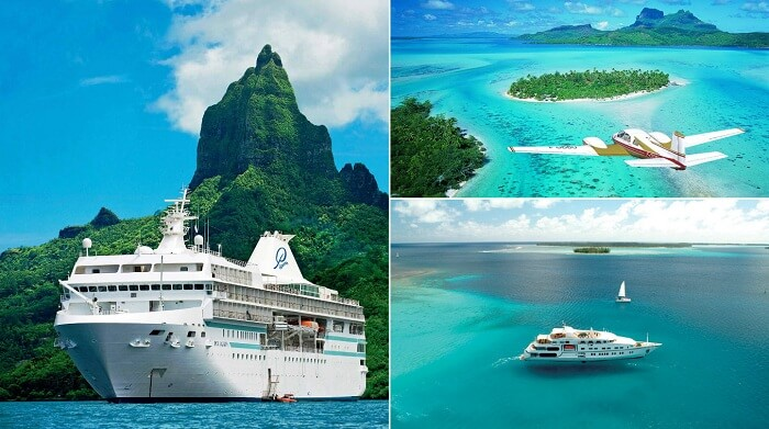A collage showing the modes of transport to Bora Bora
