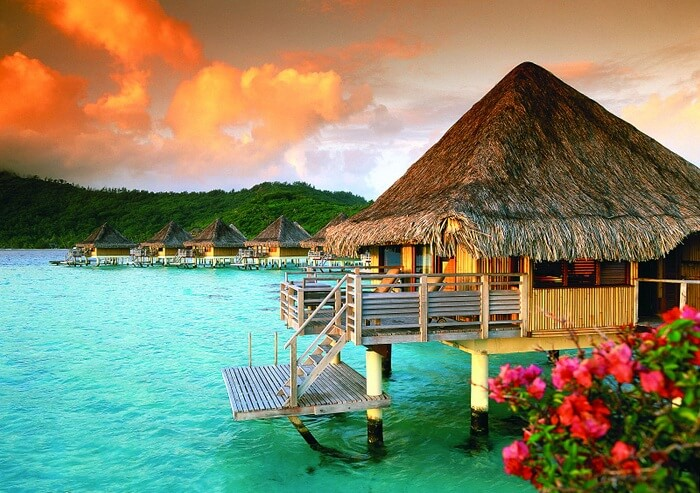 A beautiful view of an overwater villa in Bora Bora