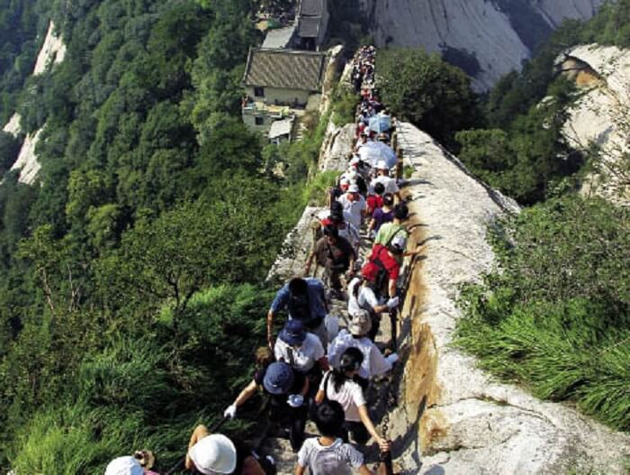Bravehearts who are not afraid to man the heights of Mount Huashan