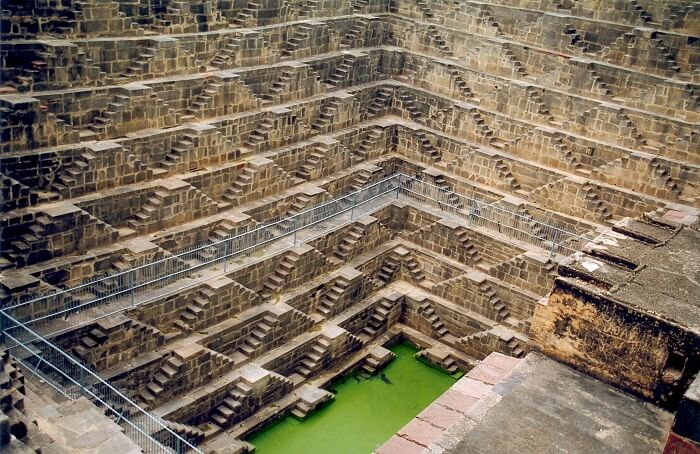 A view of the Chand Baori step well in the village of Abhaneri