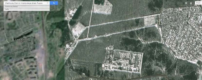 Chekhov, near Moscow, Russia, censored on Google maps