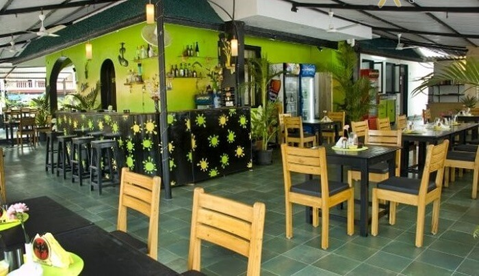 The green interiors of the restaurant in Cuba Baga is quite refreshing