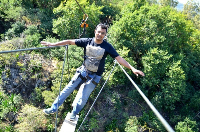 Chiranth enjoying the adventurous bridge walk in Casela Nature Park