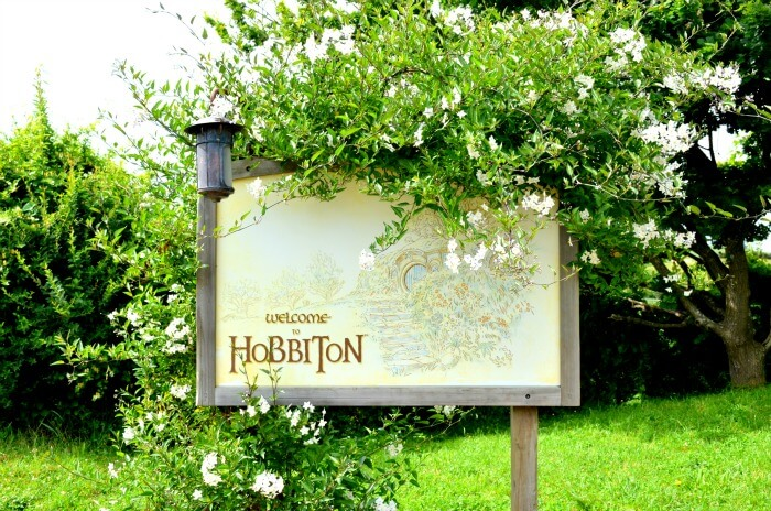 Hobbiton entry and information board in New Zealand