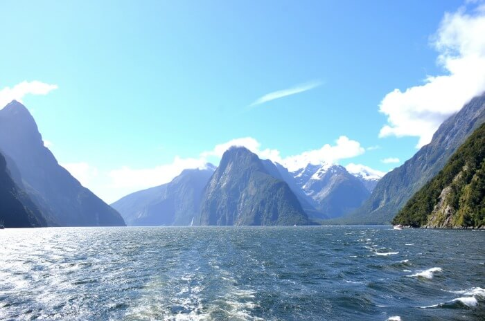 Endless waters with a clear mountain sky in NZ