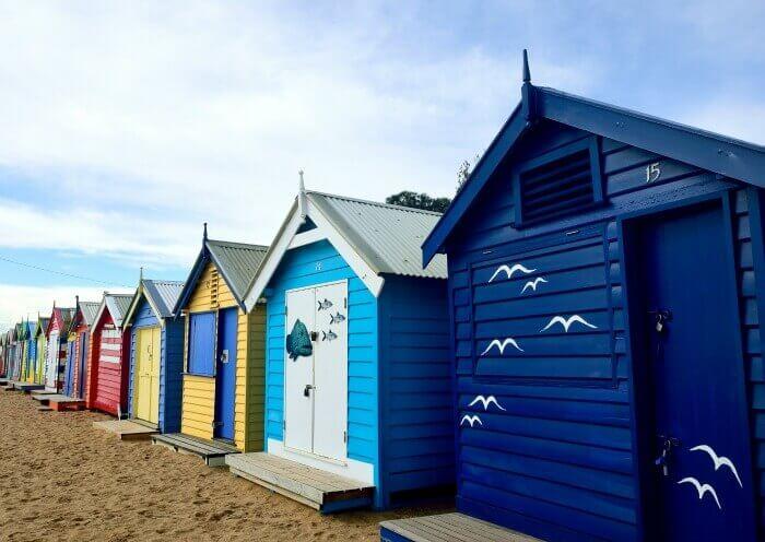 Gorgeous view of the bathing boxes on Brighton Beach