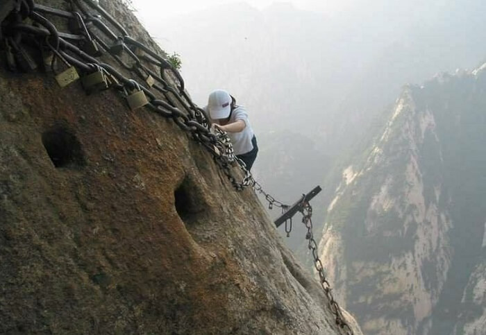 Toe holes and iron chains on Mount Huashan