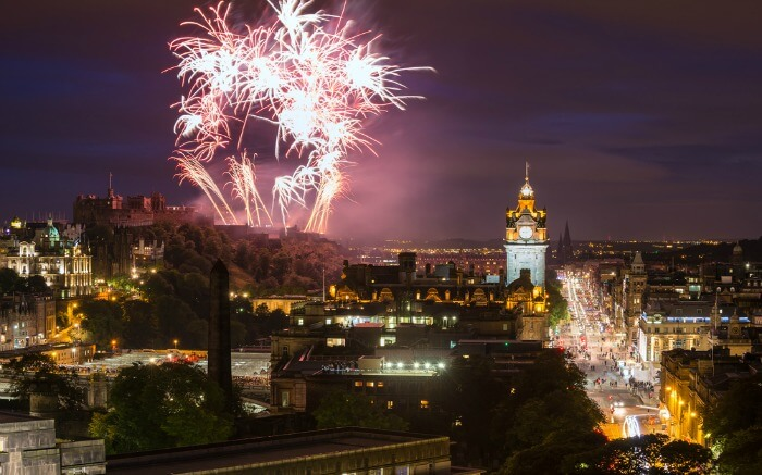 The fireworks during Hogmanay Celebrations in Edinburgh