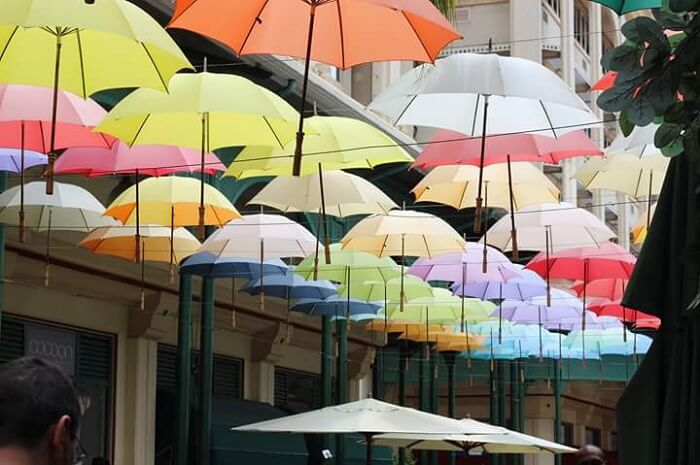 Colorful Umbrellas in market of Port Louis