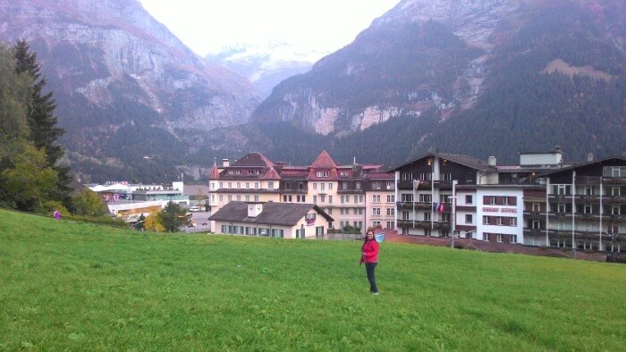 Enjoying the green landscapes and the ruggest Swiss mountains