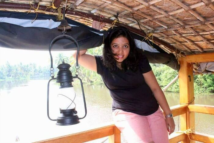 Yateens wife at the Alleppey houseboat