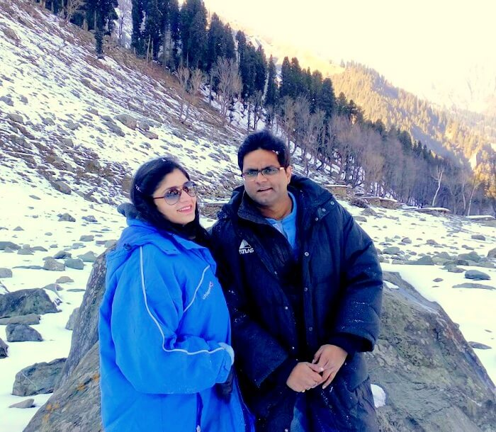 Rachit and his wife in Sonmarg