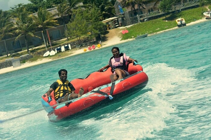 Karthik and his wife do water sports in Mauritius