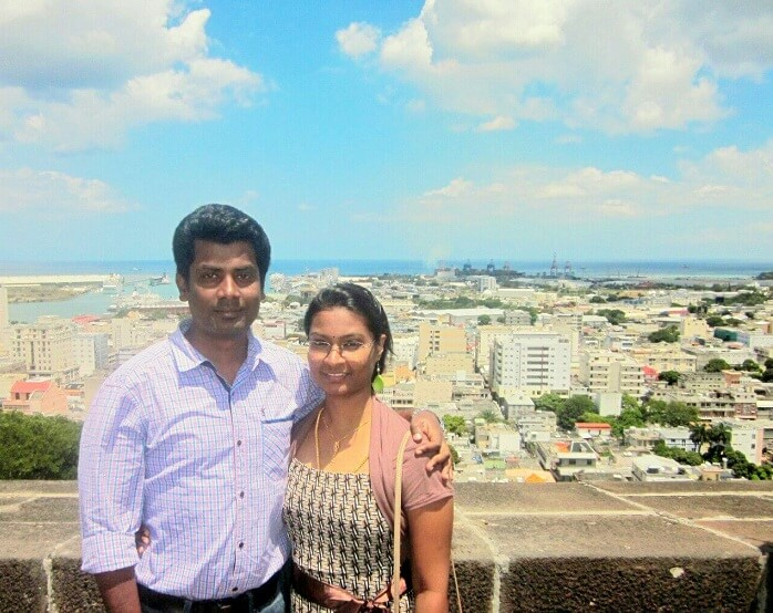 Karthik and his wife in Port Louis Mauritius