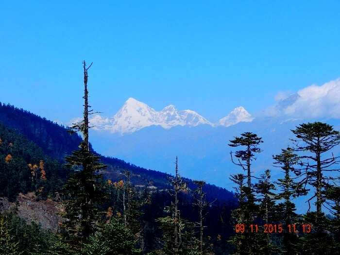 View of Chelela Peaks in Bhutan