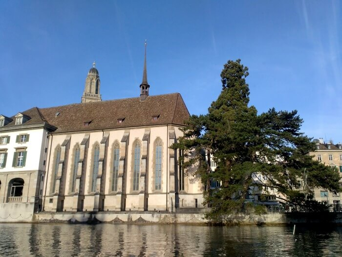 A lovely local church on a clear day in Zurich