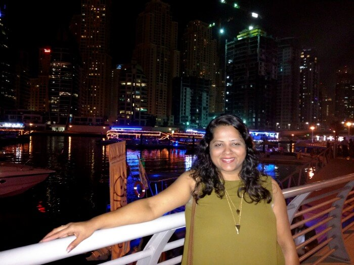 Ojas's wife chilling at Dubai Creek