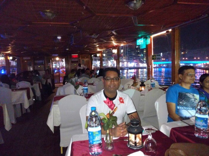 Ojas dining at Dhow Cruise on the Dubai Creek