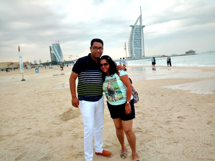 Ojas having a great time at t he white sand beach, Dubai
